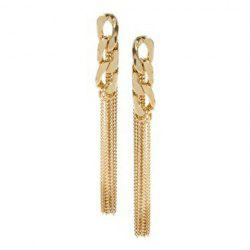 Pair of Alloy Chain Design Long Tassel Drop Earrings