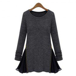 Casual Style Scoop Neck Zipper Splicing Long Sleeve Dress For Women