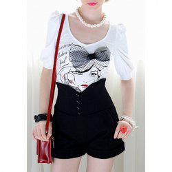 Bow Tie Girl Print Scoop Neck Puff Sleeves Cotton Blend Ladylike Style Women's T-Shirt -