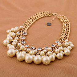 Fashionable Rhinestone Faux Pearl Decorated Necklace For Women