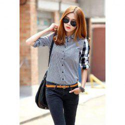 Long Sleeves Shirt Collar Checked Pattern Stitching Single-breasted Laconic Style Stylish Women's Shirt -
