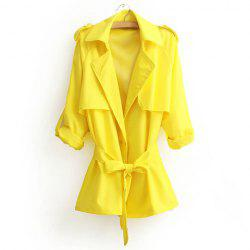 Casual Style Turn-Down Collar Solid Color Tie-Up Long Sleeve Coat For Women -