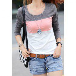 Casual Color Matching Striped Long Sleeve Women's T-Shirt -