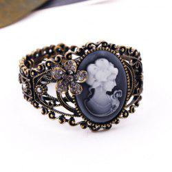 Vintage Rhinestoned Flower Queen Print Cameo Cuff Bracelet - AS THE PICTURE