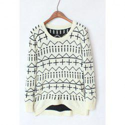 Casual Style Scoop Neck Contrast Color Geometric Long Sleeve Sweater For Women -