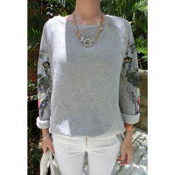 Leopard Print Long Sleeves Round Neck Cotton Blend Casual Style Women's T-Shirt -