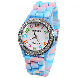 Geneva Quartz Watch 12 Arabic Number Indicate Rubber Watch Band for Women - Azure - AZURE