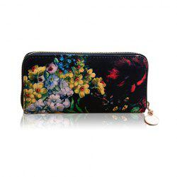 Stylish Floral Print and Zipper Design Women's Wallet -