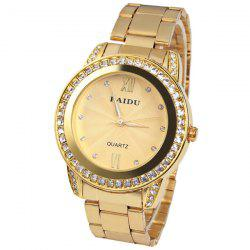 Paidu Quartz Watch 2 Roman Number and Diamond Dots Indicate Steel Watch Band for Women - Golden