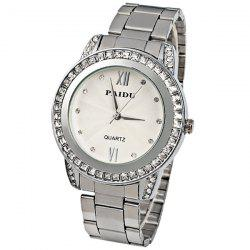 Paidu Quartz Watch 2 Roman Number and Diamond Dots Indicate Steel Watch Band for Women - Silver