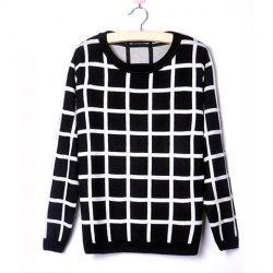Casual Style Scoop Neck Plaid Contrast Color Long Sleeve Sweater For Women -