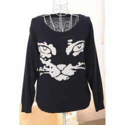Fashionable Style Scoop Neck Cat Contrast Color Long Sleeve Sweater For Women -