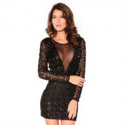 Long Sleeves Scoop Neck Voile Stitching See-through Sequin Embellished Beam Waist Packet Buttock Sexy Women's Short Black Dress -