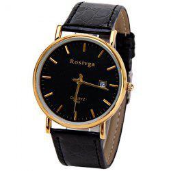 Rosivga Quartz Watch with Strips Indicate Leather Watch Band for Men - White