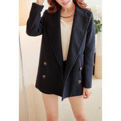 Simple Design Lapel Solid Color Button Long Sleeve Coat For Women -