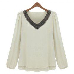 V-Neck Long Sleeves Chiffon Color Block Casual Style Women's Blouse -