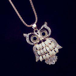 Rhinestone Embellished Owl Pendant Necklace -