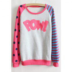 Polka Dot Stripe Long Sleeve Casual Style Women's T-Shirt -