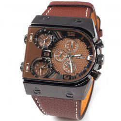 Oulm Multi-Function 3-Movt Quartz Leather Wristwatch Men Military Sports Watch -