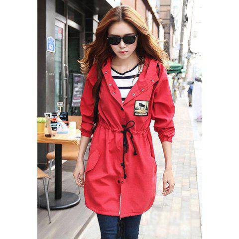 Shops Casual Hooded Patch and Drawstring Waist Design Long Sleeves Cotton Women's Coat