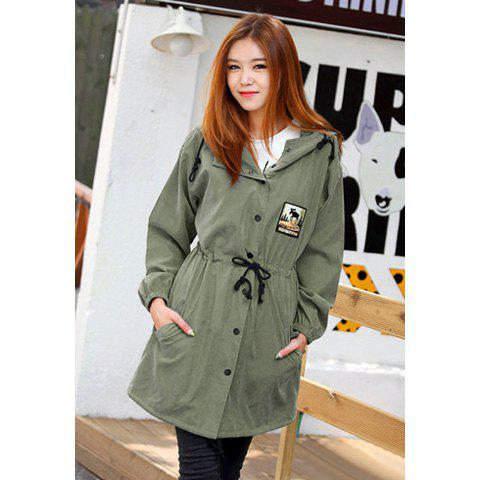 Unique Casual Hooded Patch and Drawstring Waist Design Long Sleeves Cotton Women's Coat