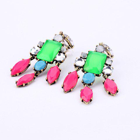 Trendy Pair of Gemstone Embellished Candy Color Pendant Earrings For Women
