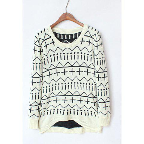Hot Casual Style Scoop Neck Contrast Color Geometric Long Sleeve Sweater For Women
