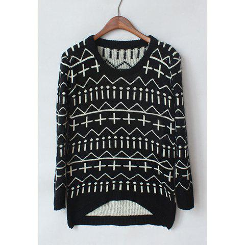 Shops Casual Style Scoop Neck Contrast Color Geometric Long Sleeve Sweater For Women