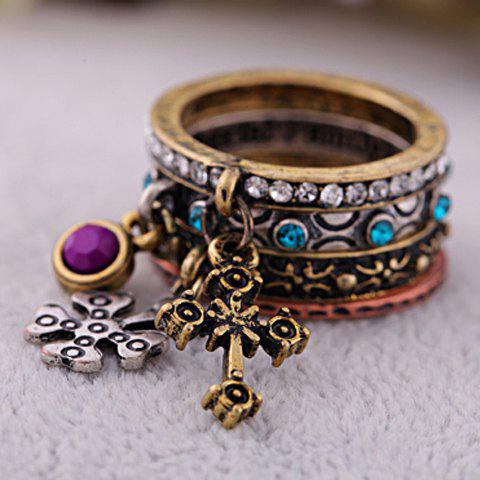 Chic 4PCS of Rhinestoned Carved Design Cross Pendant Alloy Rings For Women