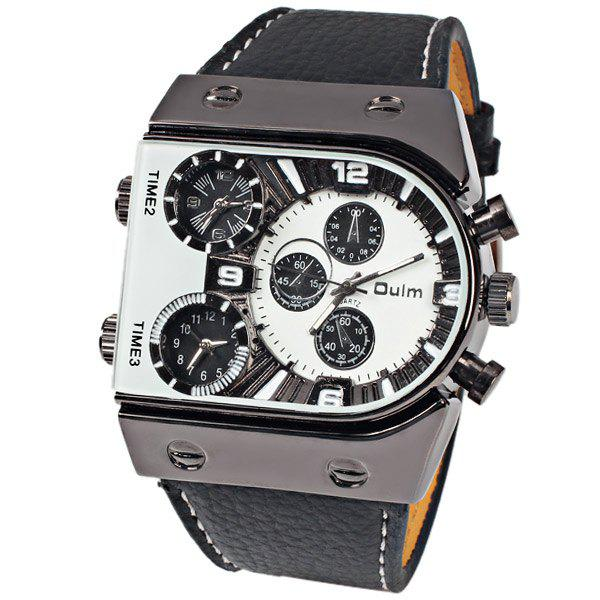 Oulm Multi-Function 3-Movt Quartz Leather Wristwatch Men Military Sports WatchJEWELRY<br><br>Color: WHITE; Brand: Oulm; Watches categories: Male table; Watch style: Fashion; Available Color: Black,Coffee,Orange,Red,White,Yellow;