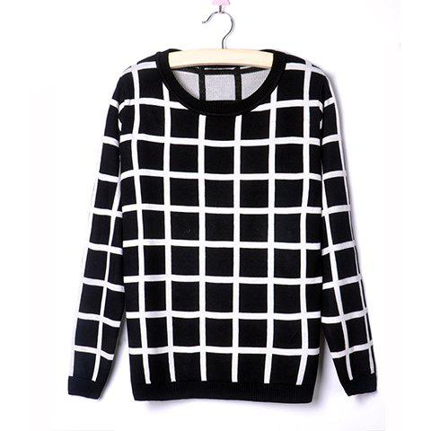 Discount Casual Style Scoop Neck Plaid Contrast Color Long Sleeve Sweater For Women