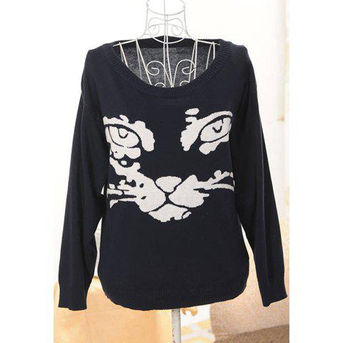 Fashion Fashionable Style Scoop Neck Cat Contrast Color Long Sleeve Sweater For Women