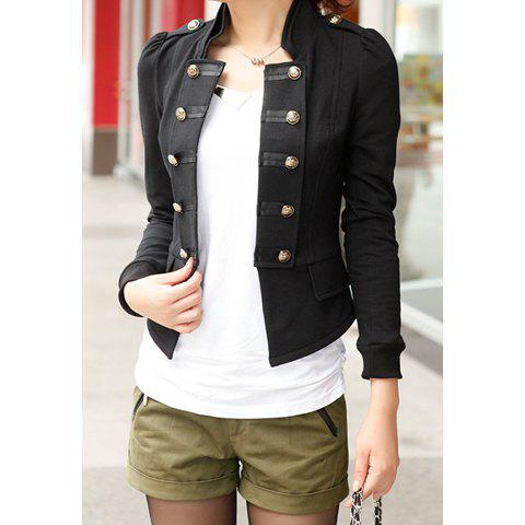 Cheap Long Sleeves Stand Collar Double-breasted Pockets Beam Waist Epaulets Ladylike Women's Coat