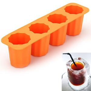 Domestic Practical DIY Tool Silicone Cup Shape Ice Cube Tray with 4 Ice Grids - Random Color -