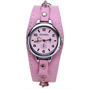 Cute Quartz Watch with Arabic Numbers Indicate Leather Watch Band for Women - PINK