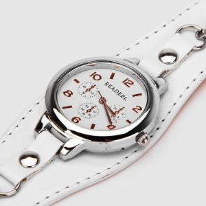 Cute Quartz Watch with Arabic Numbers Indicate Leather Watch Band for Women - WHITE
