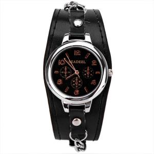 Cute Quartz Watch with Arabic Numbers Indicate Leather Watch Band for Women -