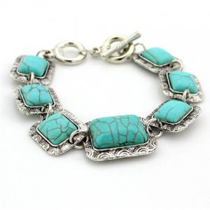 Vintage Figured Stone Embellished Charm Bracelet For Women   (One Piece) - Green
