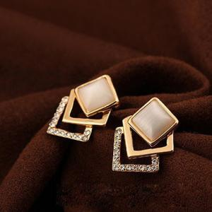 Fake Opal Embellished Square Earrings
