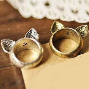 Vintage Cat Ear Decorated Ring For Women
