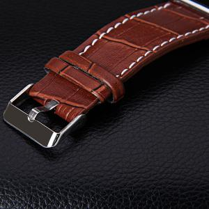 Waterproof Leather Band LED Screen Watches with Blue Light Display Square Shaped Silver Crust - White -