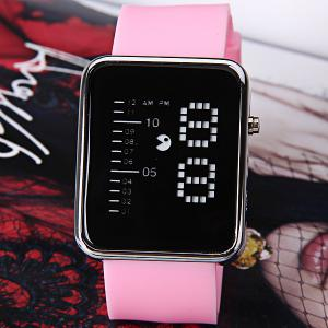 Waterproof Rubber Band LED Screen Watches with Blue Light Display Square Shaped Silver Crust - Pink -