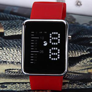 Waterproof Rubber Band LED Screen Watches with Blue Light Display Square Shaped Silver Crust - Pink - RED