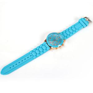 Quartz Watch 8 Arabic Number and Strips Indicate Rubber Watch Band for Women - Purple - BLUE