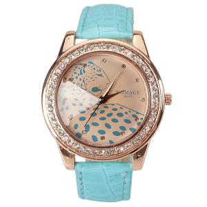 A628 Quartz Watch with 12 Small Diamond Dots Indicate Leather Watch Band Leopard Pattern Dial for Women - Blue - BLUE