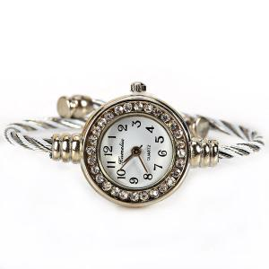 Kamelia Portable Quartz Watch with 12 Arabic Numbers Indicate Alloy Watch Band for Women - White -