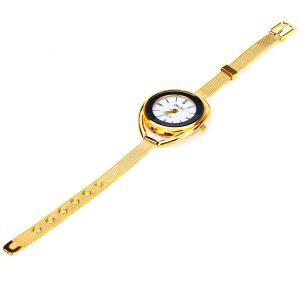 MxRe Quartz Watch with Strips Hour Marks Steel Watch Band for Women - Golden - GOLDEN