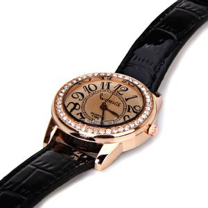 Womage 596 Quartz Watch Time Showed By 12 Arabic Numbers Leather Watch Band for Women - Black -