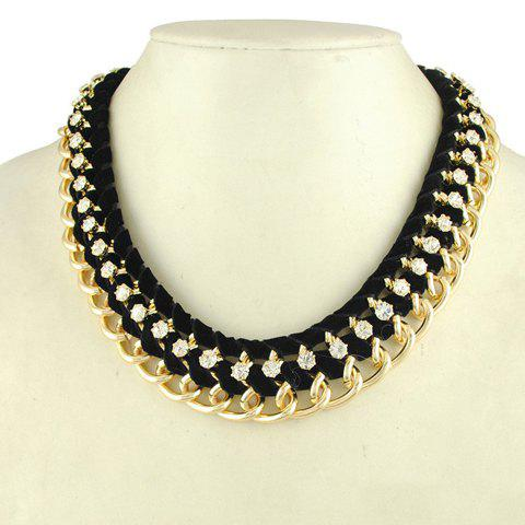 Fashion Rhinestoned Multilayered Knitted Design Necklace