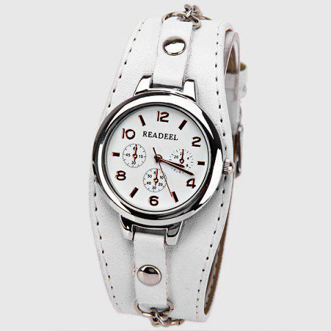Outfit Cute Quartz Watch with Arabic Numbers Indicate Leather Watch Band for Women WHITE
